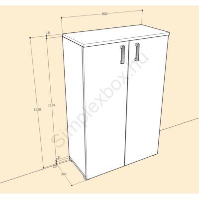 BIA1250AS Bianka 3 polcos 2 ajtós szekrény