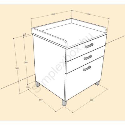 BIA900PF Bianka 3 fiókos pelenkázó szekrény