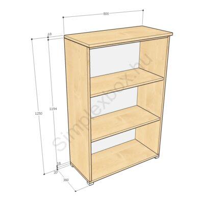 KATA1250PS Kata 3 polcos nyitott szekrény